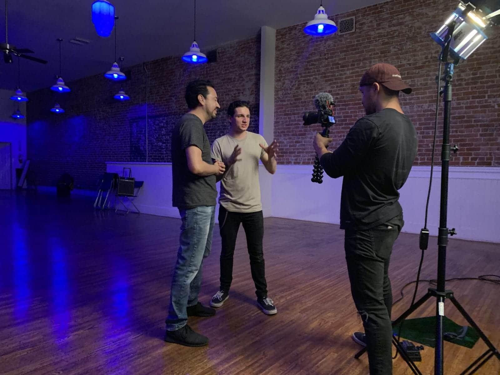 studio shoot under blue light