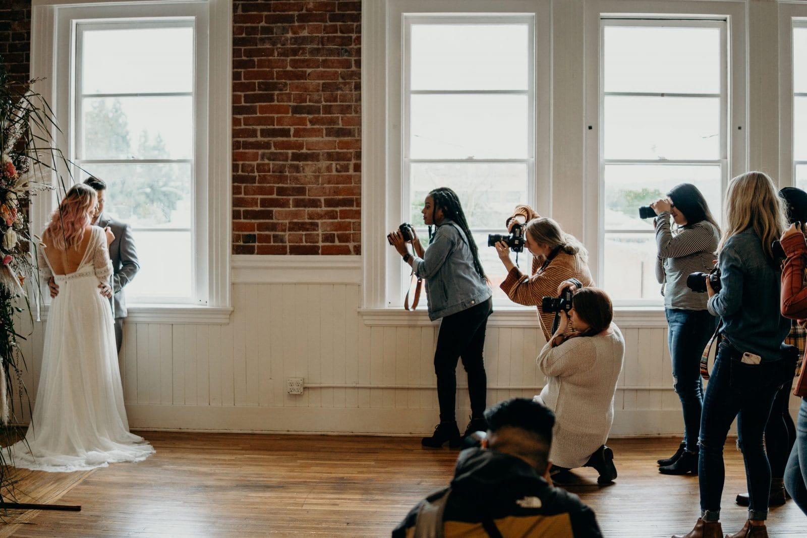studio space wedding photo shoot